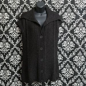 KENNETH COLE BLACK/BROWN KNIT CARDIGAN SWEATER